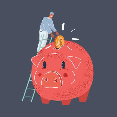 Vector illustration of man put big coin in giant red piggy bank on dark backround. Stock Illustratie