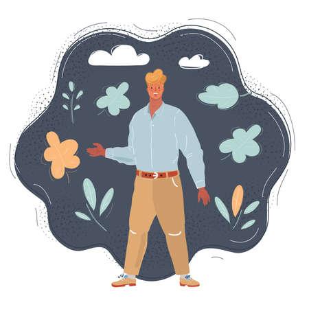 Vector illustration of man on dark background. Stock Illustratie