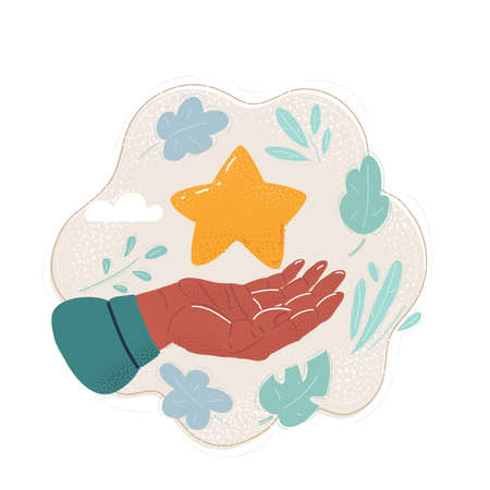 Cartoon illustration of Hands holding Star in hand. Stock Illustratie