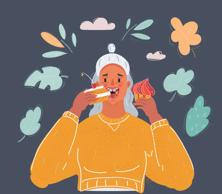 Cartoon illustration of young woman eating cake on dark background.