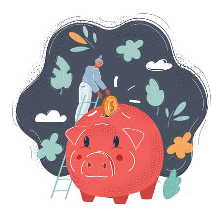 Vector illustration of Golden coins falling into a piggy bank isolated on dark background Stockfoto