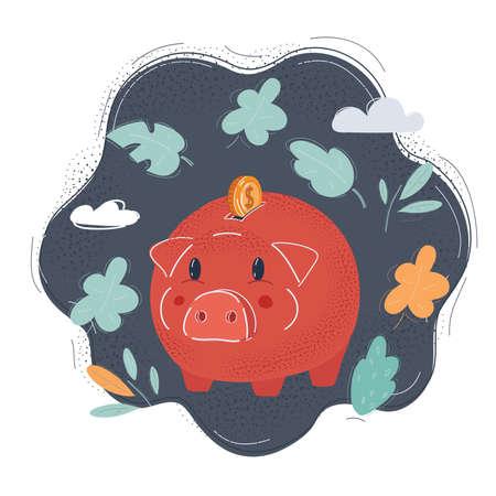 Vector illustration of piggy bank and money on dark backround.