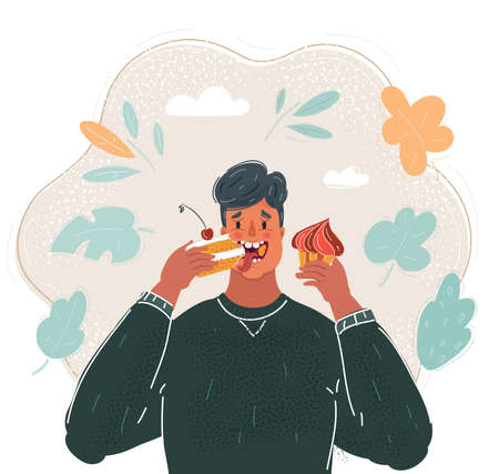 Cartoon illustration of Face of man eating cake. Stock Illustratie