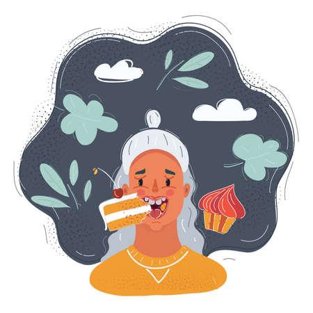 Cartoon illustration of woman eat cake. Close-up portrait on dark background.