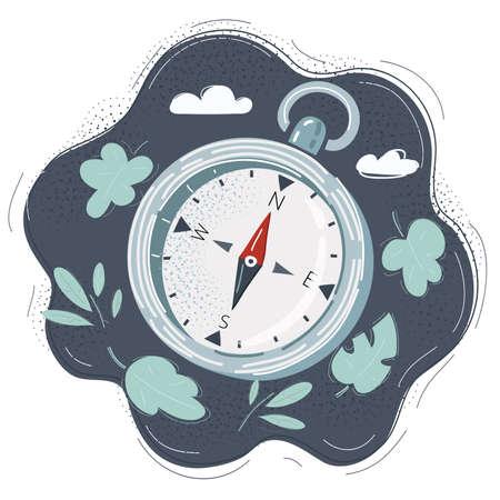 Cartoon illustration of compass on dark background. Stock Illustratie
