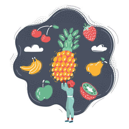 Cartoon illustration of run woman in white shirt with big pineapple