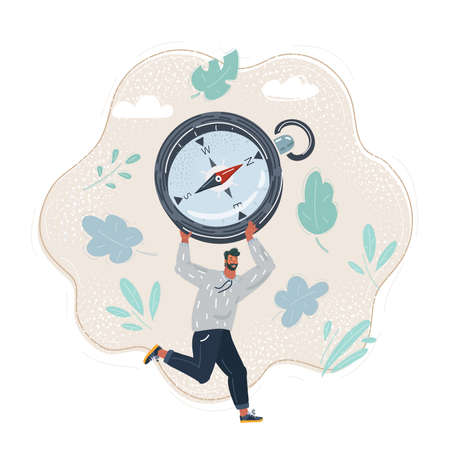 Cartoon illustration of man run with compass. Right directon concept. Stock Illustratie