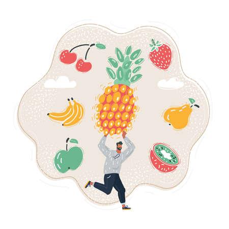 Cartoon illustration of run man in white shirt with big pineapple Stock Illustratie