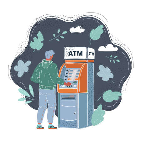 Vector illustration of man with credit card, using a ATM.