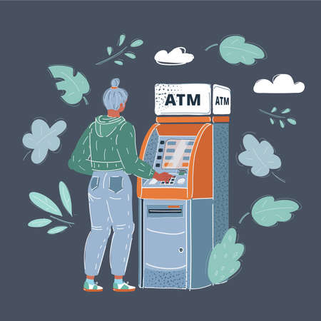 Vector illustration of woman draws out money in a cash ATM on dark backround.