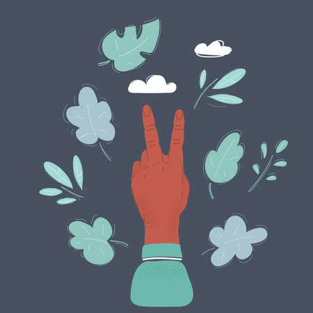 Vector illustration of Painted finger smiley isolated on dark background.