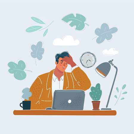 Vector illustration of Man in office with problems. Hold his head by his hand. Stock Illustratie