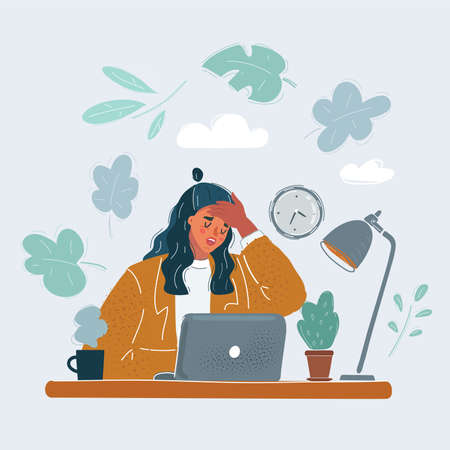Vector illustration of woman in office with problems. Hold his head by his hand.