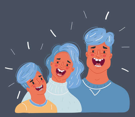 Vector illustration of laughing family. Father, mother and son. Man and Woman. Comic faces expression. Humorous scene on a dark background. Illustration