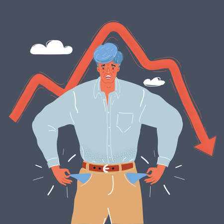 Vector illustration of man is a bankrupt Character with empty pockets turned out on dark background. The recession of the economy. Falling indicators concept on dark backround. Ilustração