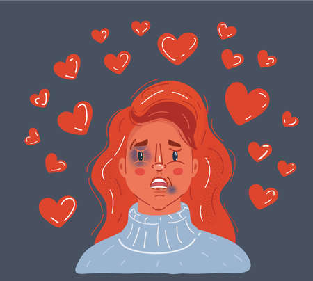 Vector illustration of Young beautiful woman with bruises and abrasions on her face. Domestic violence, tyranny, despotism, women s rights, victim of house tyrant, Stockholm syndrome concept.