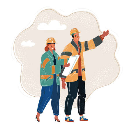 Vector illustration of construction and civil engineering industry characters construction workers. Man and woman in construction helmets with blueprint in their hands.