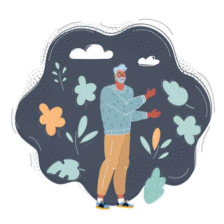 Vector illustration of elder grey haired man on dark background.