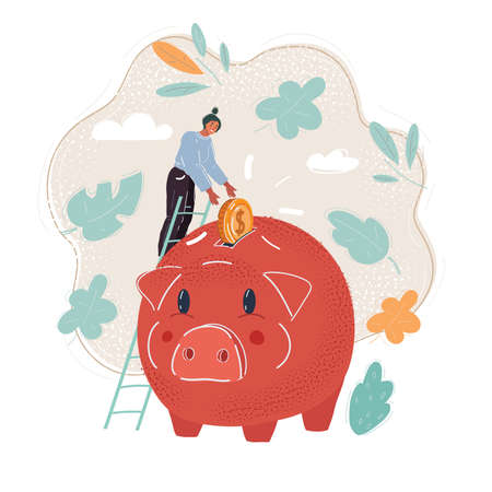 Vector illustration of tiny man put happy coin into piggy bank.
