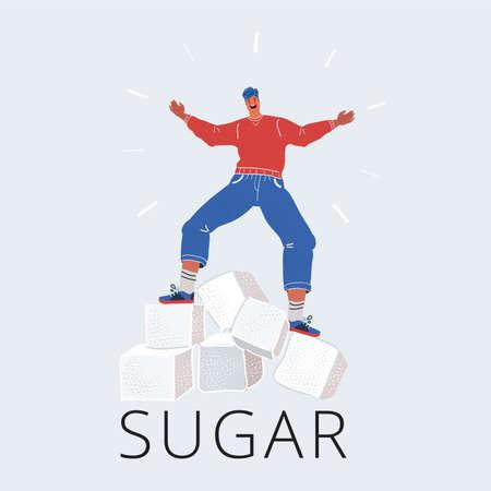 Vector illustration of man balanced on Sugar cubes on white background. Too much sugar concept Vektoros illusztráció