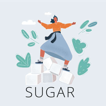 Vector illustration of woman balanced on Sugar cubes on white background. Too much sugar concept