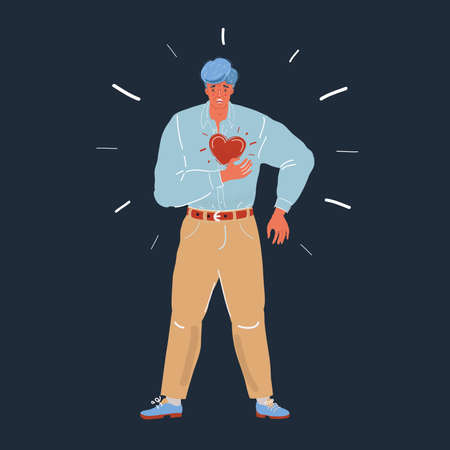 Vector illustration of Man having heart or panic attack. Male character on dark backround.