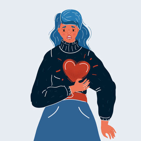 Vector illustration of Vector of Businesswoman suffering from terrible stomachache and heartache pain