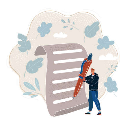 Vector illustration of Man Holding Big Pencil and wright on big paper.