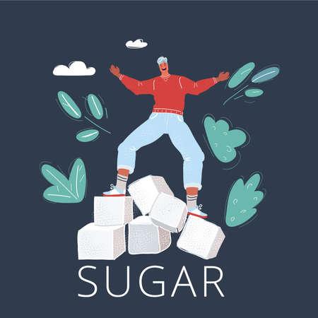 Vector illustration of cube of sugar icon. Man balanced on sweet balance on dark background.