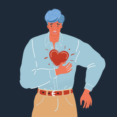Vector illustration of man clutching his chest. He having heart or panic attack. Man character on dark backgound.