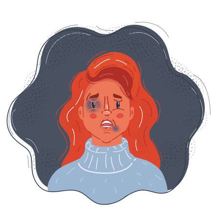 Vector illustration of Portrait of scared woman with marks of ill usage. Violence concept on dark background. Illustration