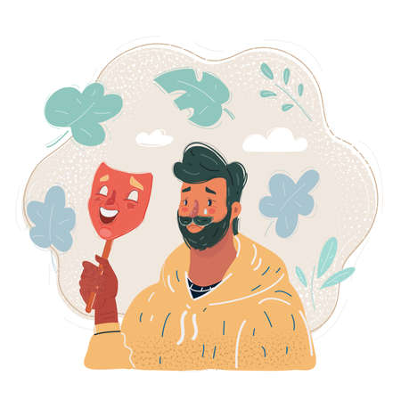 Vector illustration of man hide his real face by holding cheerful mood mask.