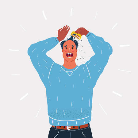 Vector illustration of man very stressed wih him loosing hair on white background. 矢量图像