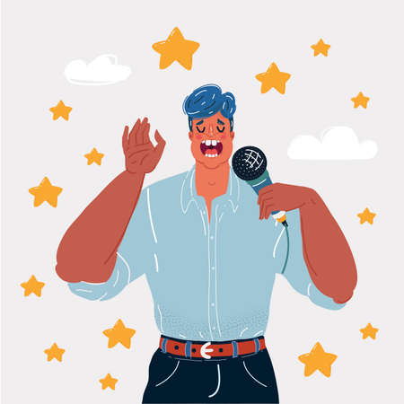 Vector illustration of man sings into the mic song and star around him. Character on white background.