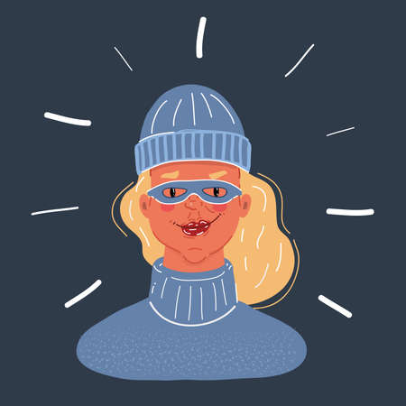 Vector illustration of male outlaw person. woman wear in beanie hat and mask on dark background.