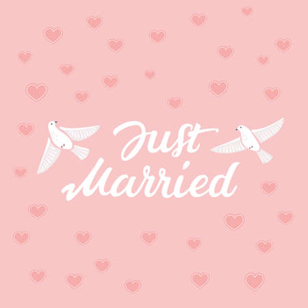 Decorative hand drawn lettering of text Just Married and illustration of birds on pink