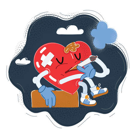 Vector illustration of heart character smoking on dark backgroud.