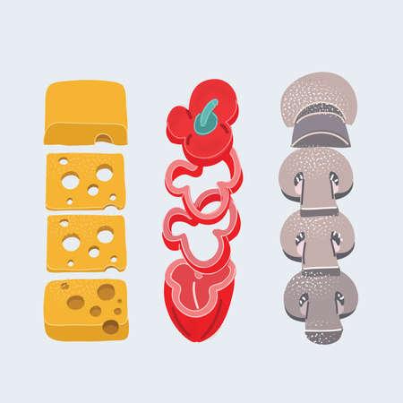 Vector illustration of Sliced food set. Chees, paprica, mushroom on white backroud.