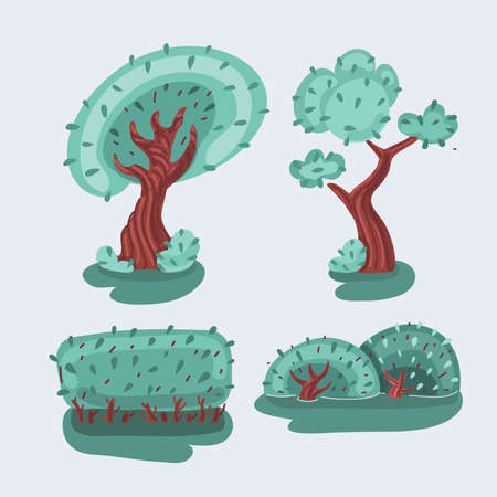 Vector illustration of cartoon tree collection