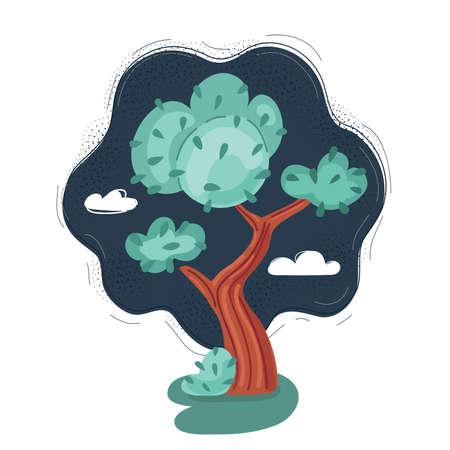 Vector illustration of tree cartoon on dark night.