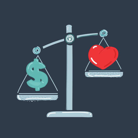 Vector illustration of love or money balanced on dark background. Heart, dollar and scale.
