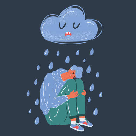 Vector illustration of sad man with raining cloud above on. Life failure concept on dark backround. 向量圖像