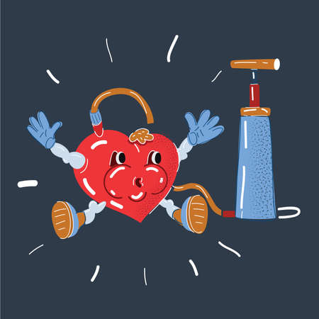 Vector illustration of blood pressure measurement tool. Heart character with pumer. Preasure concept isolated on dark.