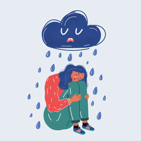 Vector illustration of portrait of a young woman sad in the rain. Depresseve cloud above her. Human character on white background. 向量圖像