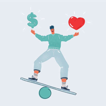 Vector illustration of man make is balancing choice and balanced between love and money on white background. 向量圖像