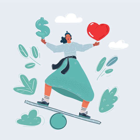 Vector illustration of man make is balancing choice and balanced between love and money. 向量圖像