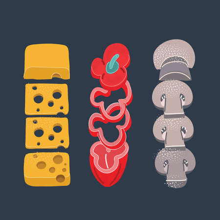 Vector illustration of ingredients collection. Sliced cheese, red paper, paprica, musrhoom on dark background.