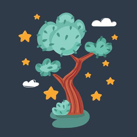 Vector illustration of tree on dark background. Ilustração