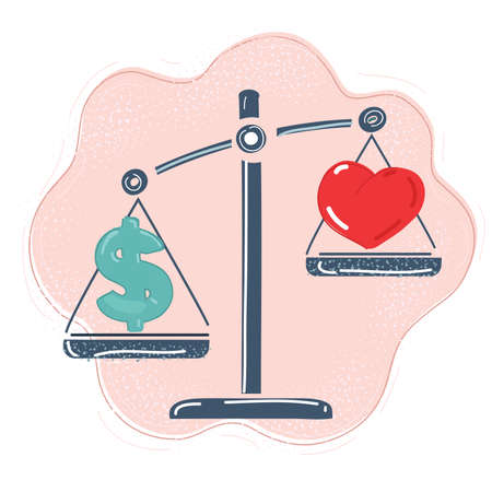 Vector illustration of Heart and money on scales.