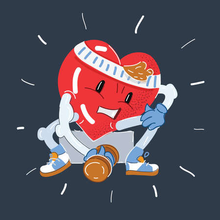 Vector illustration of Strong heart character trains with dumbbells on dark backround.